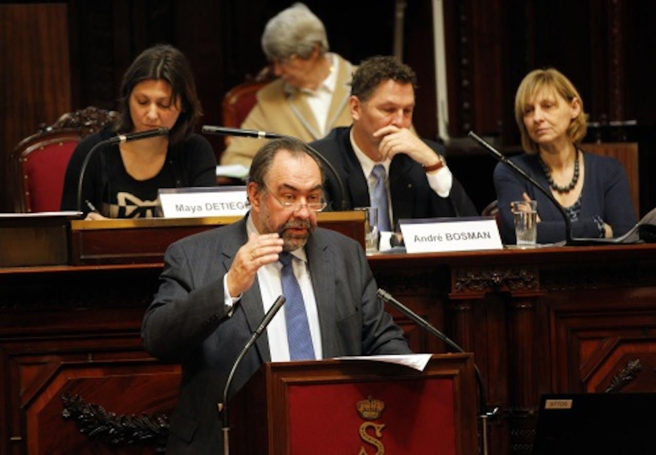 NMBS-topman Marc Descheemaecker tijdens de hoorzitting over de Fyra. ANP