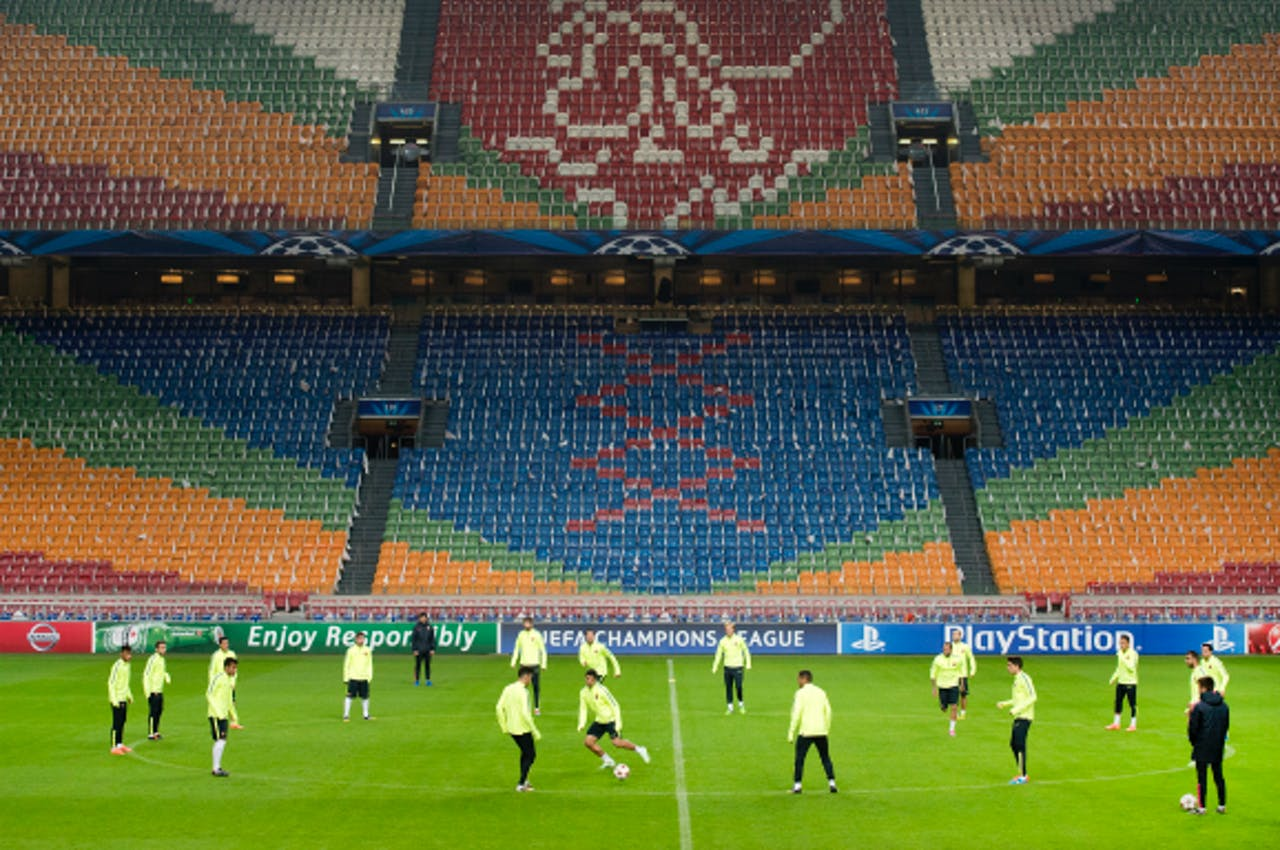 Foto: ANP - FC Barcelona-spelers trainen in de Amsterdamse Arena