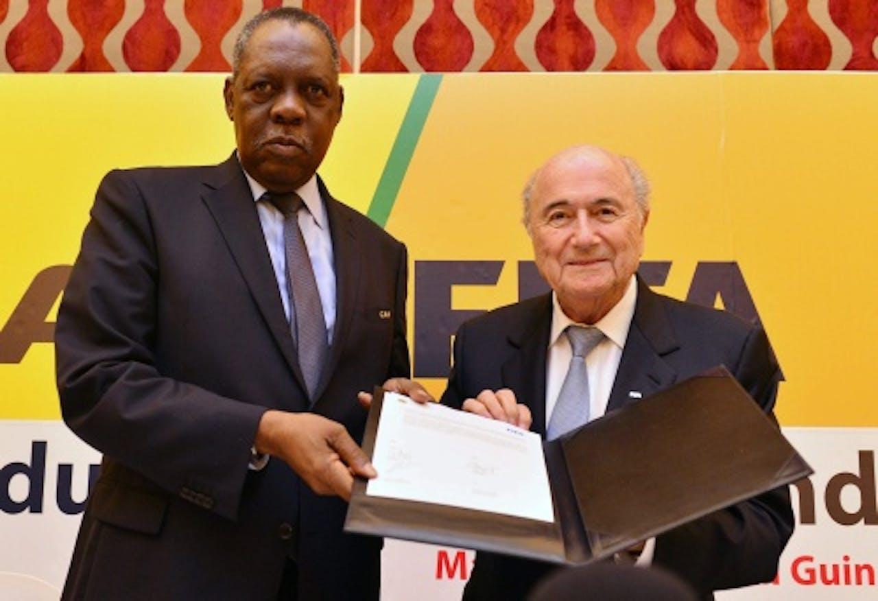 Hayatou (L) met Blatter - EPA