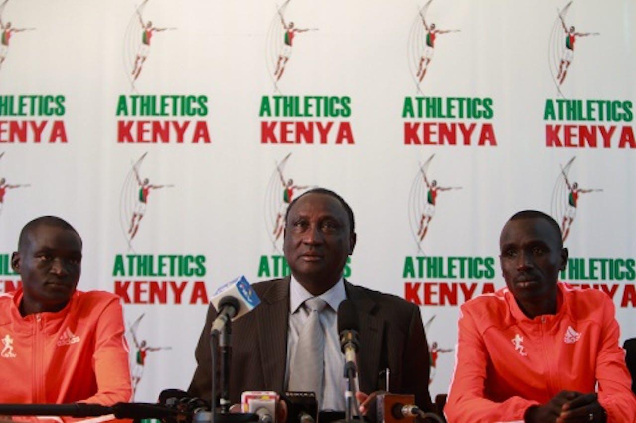 EPA Archiefbeeld Voorzitter Isaiah Kiplagat (M) van Athletics Kenya.