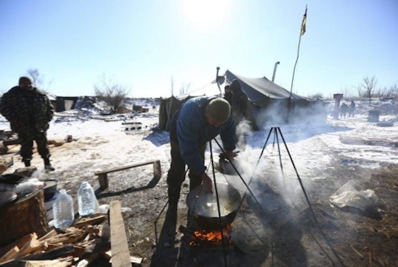 Een militair kamp vlakbij Debaltseve. EPA