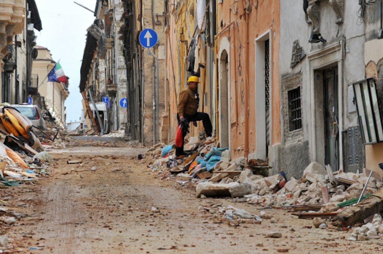 De Italiaanse stad L'Aquila vlak na de aardbeving. Foto: ANP
