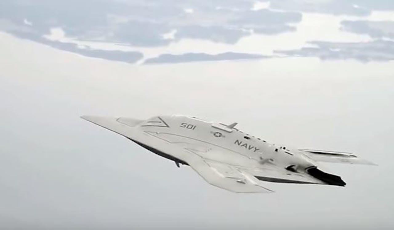 De X-47B is een onbemand viegtuig dat zonder besturing van de mens op afstand zelfstandig doelen kan selecteren en aanvallen.