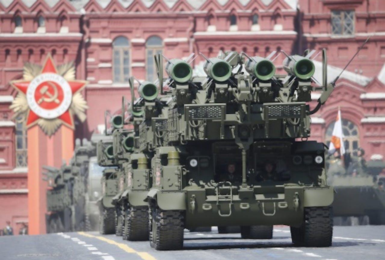 Buk-raketten bij de parade in Moskou. Foto: EPA