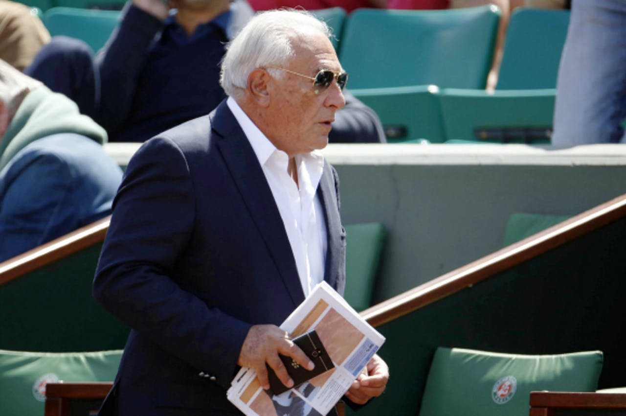 Mei 2015: Strauss-Kahn bezoekt een wedstrijd op Roland Garros. Foto: ANP/AFP