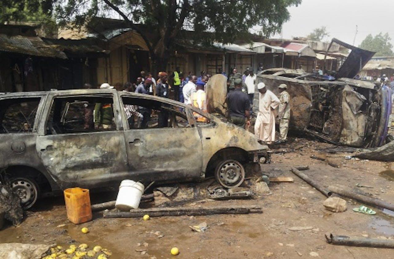 Het resultaat van een aanslag in Nigeria, vermoedelijk het werk van Boko Haram. EPA