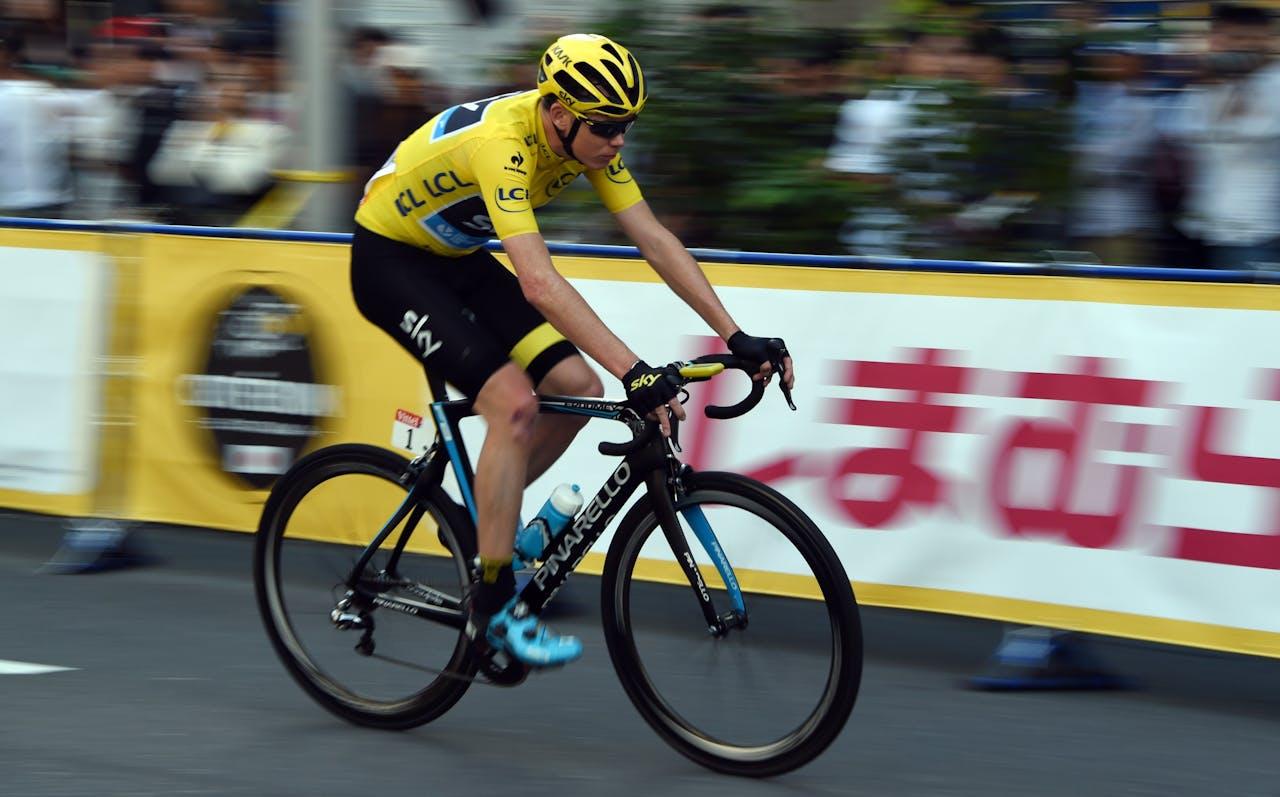 Chris Froome in de gele trui. Foto ANP