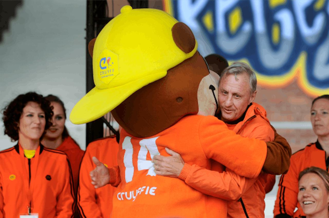 Cruijff vandaag, op de jaarlijkse open dag van de Johan Cruijff Foundation. Foto: ANP