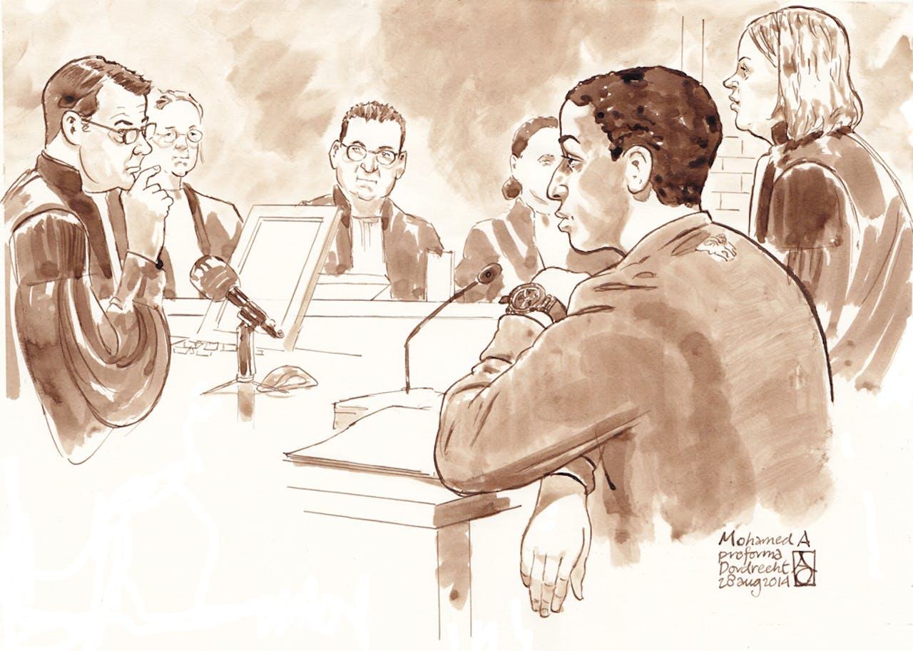 Tekening van Mohamed A. voor de rechtbank in Dordrecht.
