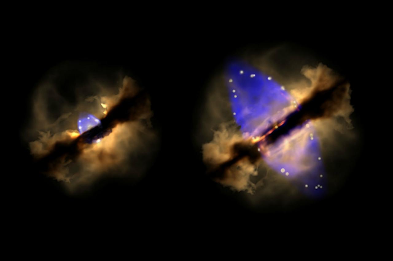 Achttien jaar van de geboorte van een ster (Artist impression van Wolfgang Steffen, Instituto de Astronomía, UNAM)
