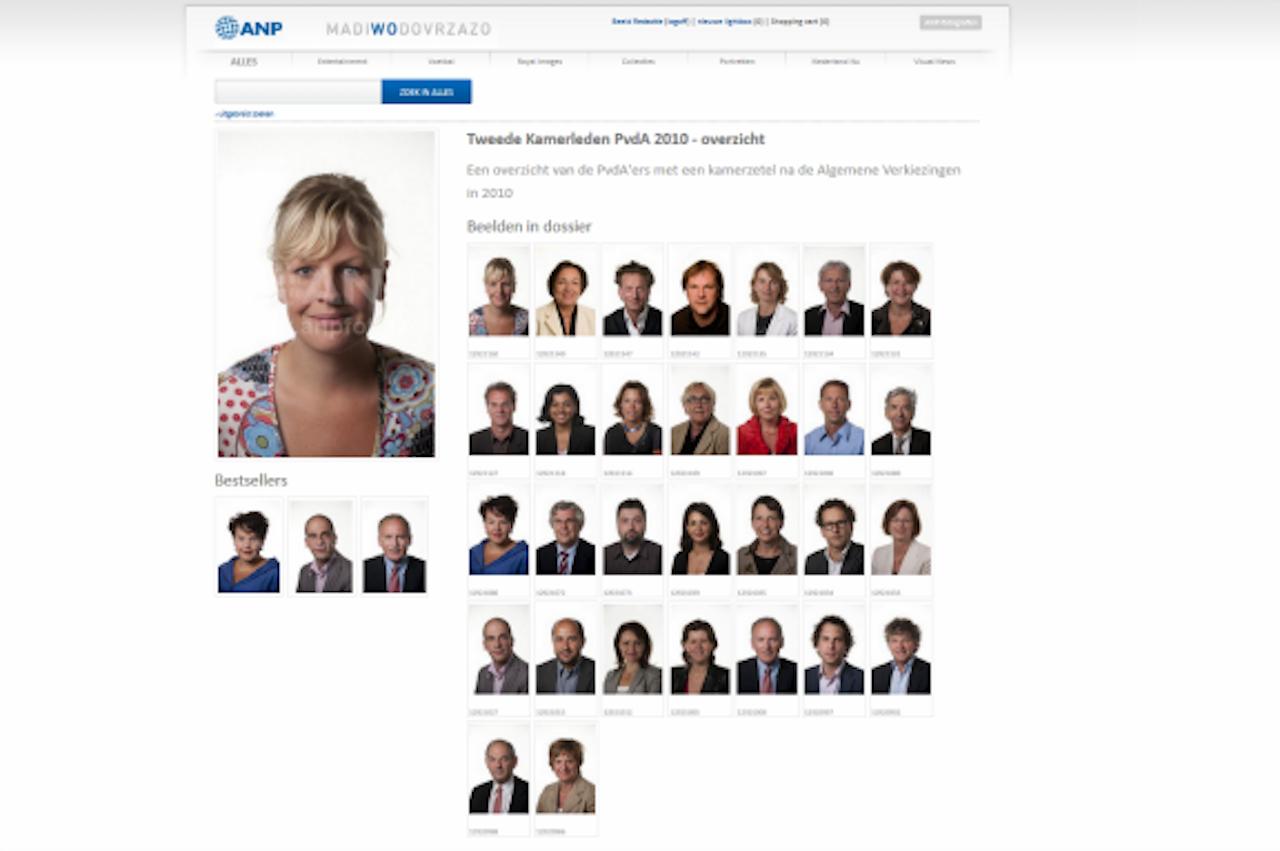 Schermafdruk van de ANP-fotodatabase met alle PvdA-Kamerleden die bij de verkiezingen in 2010 een zetel hadden bemachtigd.