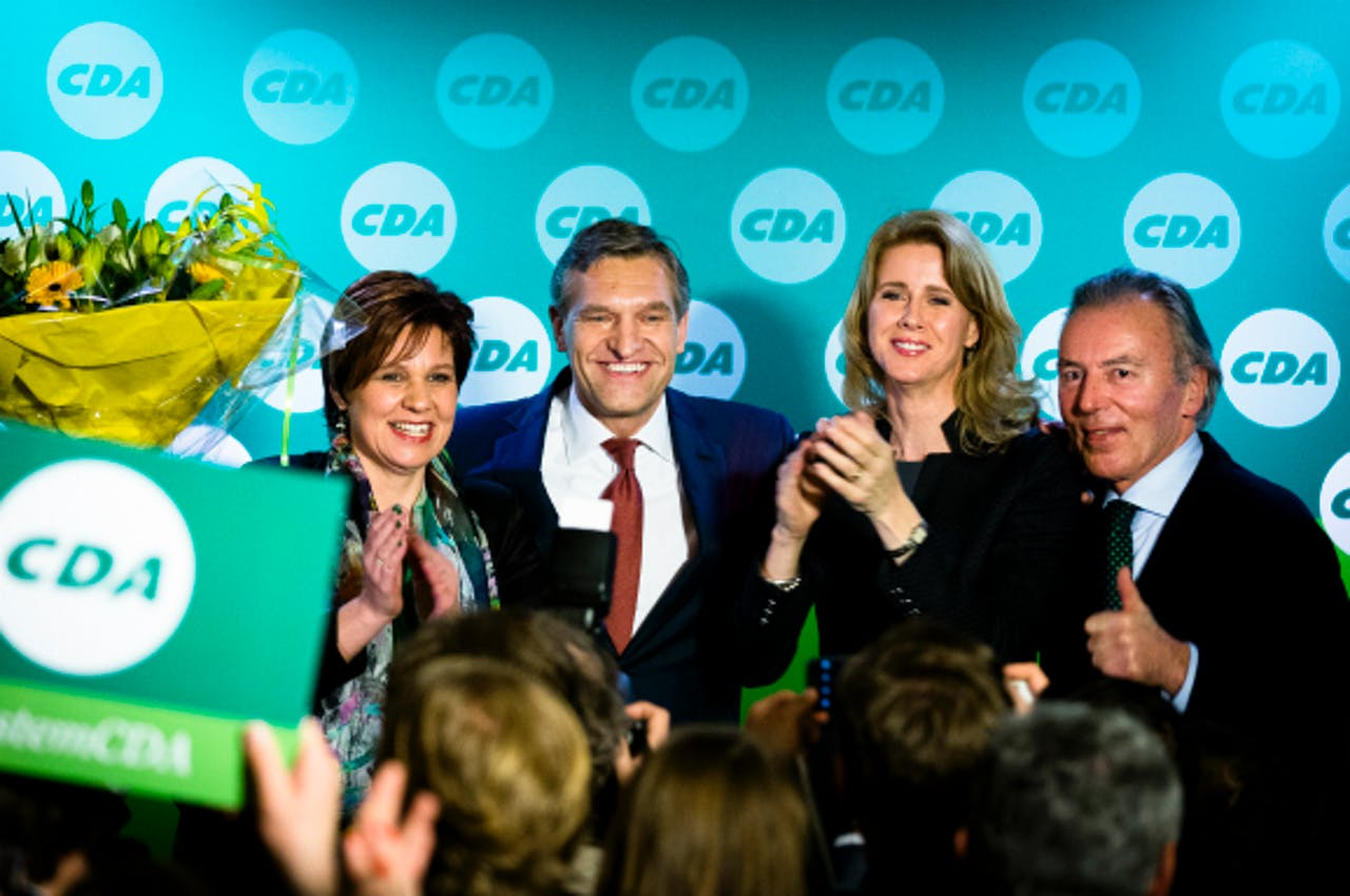 Foto: ANP - Partijvoorzitter Ruth Peetoom, CDA-fractievoorzitter Sybrand Buma, CDA-Kamerlid Mona Keyzer en CDA-senator Elco Brinkman