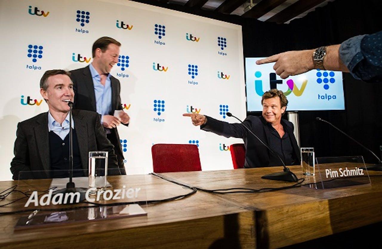 Vlnr CEO ITV Crozier, CEO Talpa Holding Schmitz en grootaandeelhouder Talpa De Mol. Foto: ANP