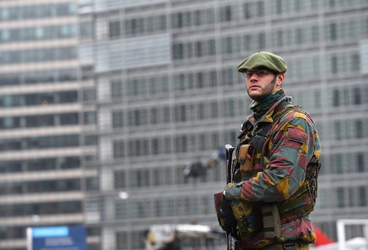 Foto: ANP. Militair, eerder deze week in Brussel