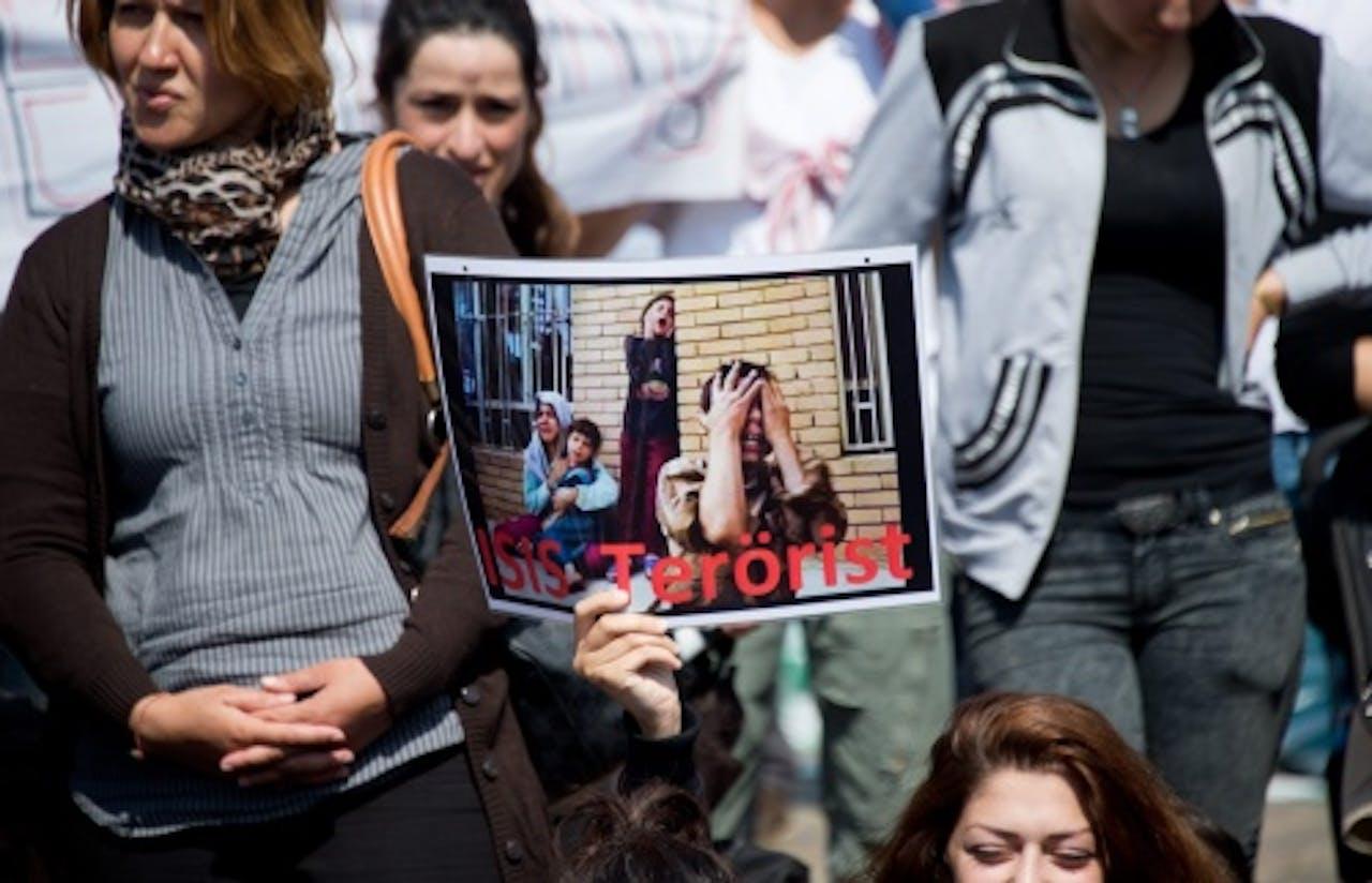 Archiefbeeld van een Yezidi-demonstratie. EPA