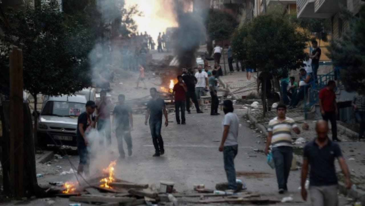 Demonstratie in Istanbul tegen optreden Turkse leger. EPA