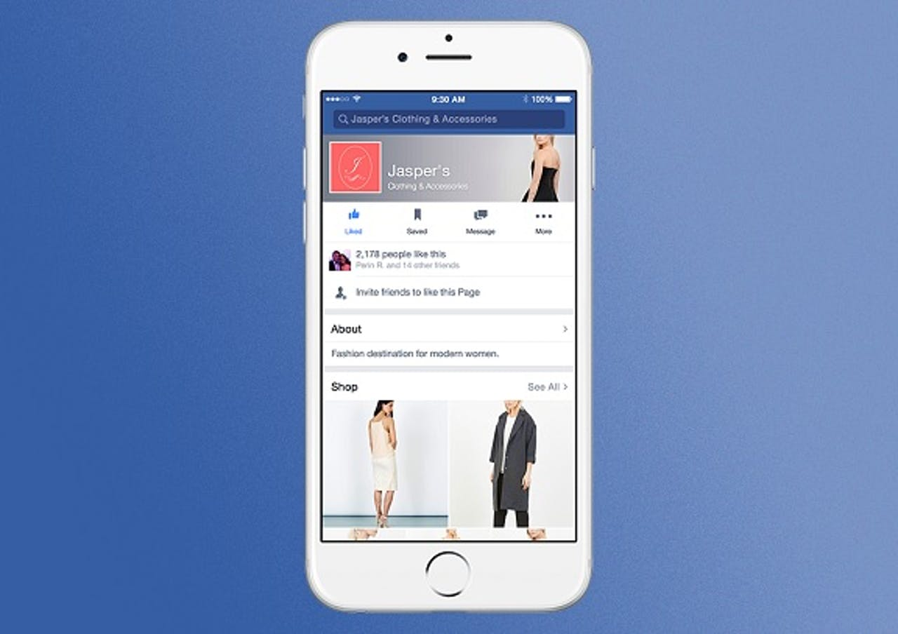 Mock-up van Facebooks nieuwe shoppagina