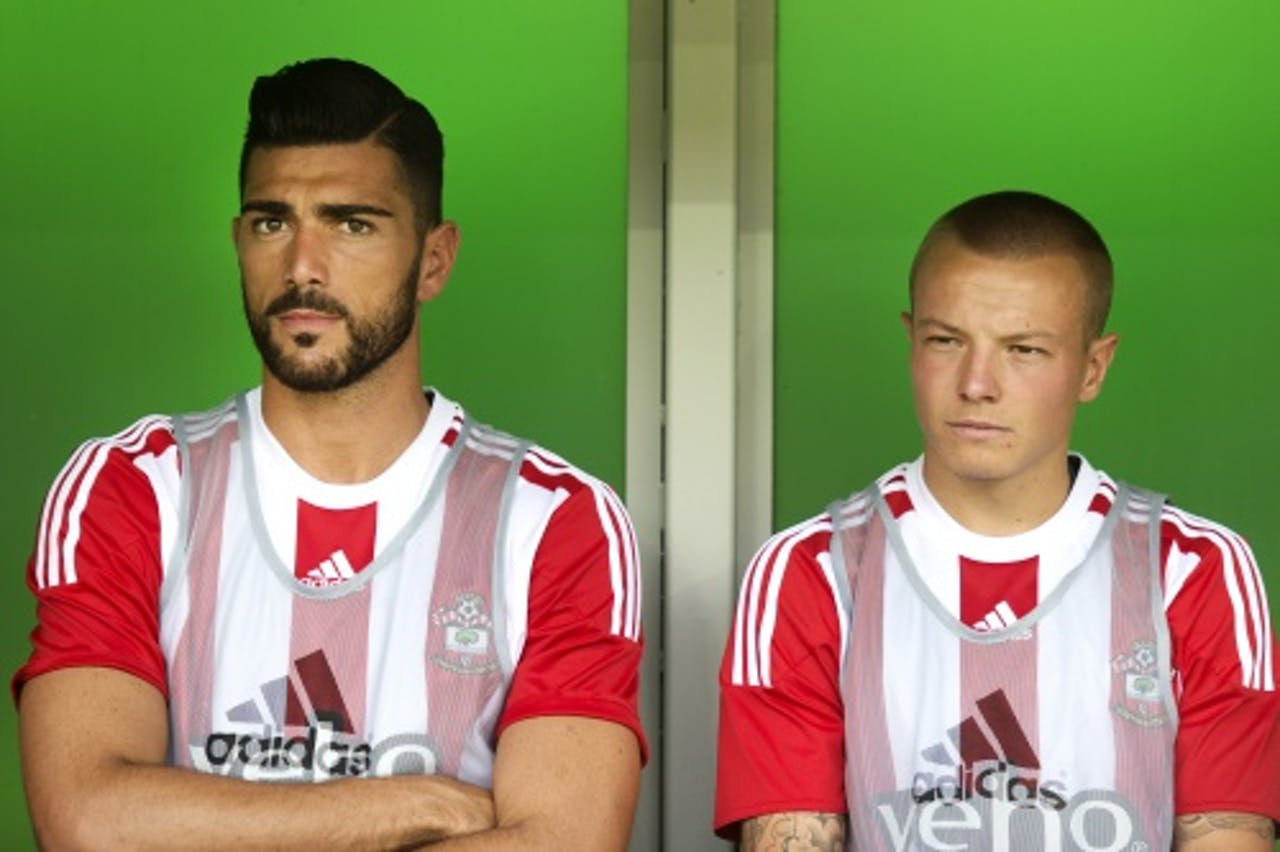 Southampton-spelers Graziano Pelle (L) en Jordy Clasie. ANP