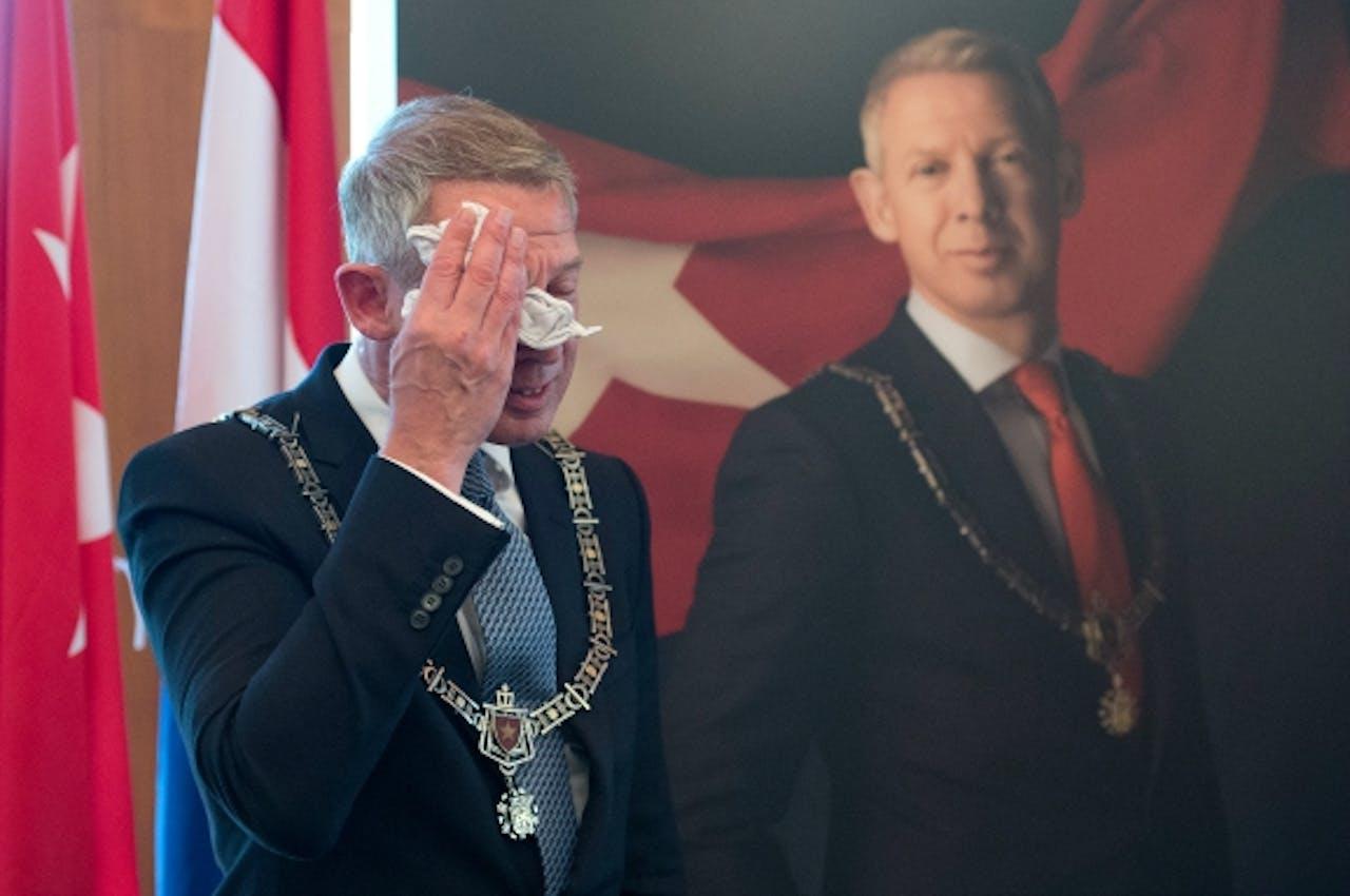 Hoes tijdens zijn afscheid als burgemeester van Maastricht, 27 juni j.l. Foto: ANP