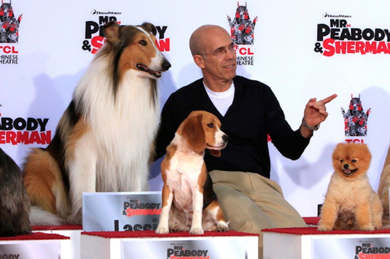 CEO van DreamWorks Jeffrey Katzenberg (tweede van rechts)