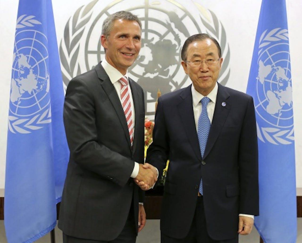 Jens Stoltenberg en Ban Ki-Moon. EPA