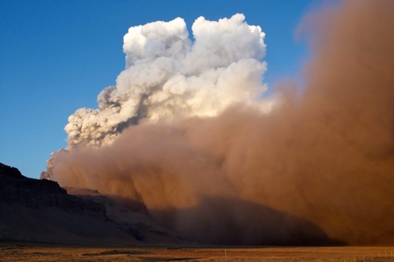 De uitbarsting van de vulkaan de Eyjafjallajökull in 2010. EPA