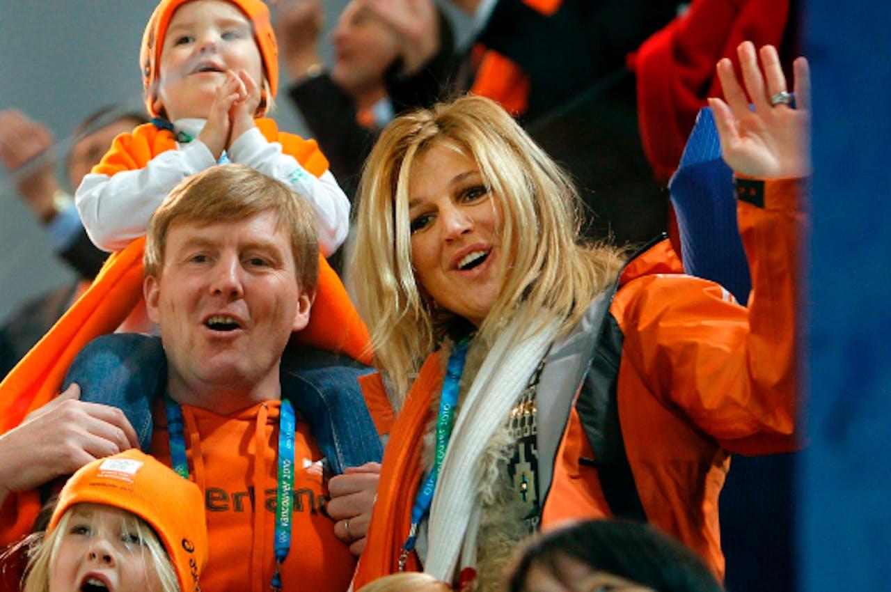 Willem-Alexander en Máxima in 2010 op de tribune tijdens de winterspelen van Vancouver