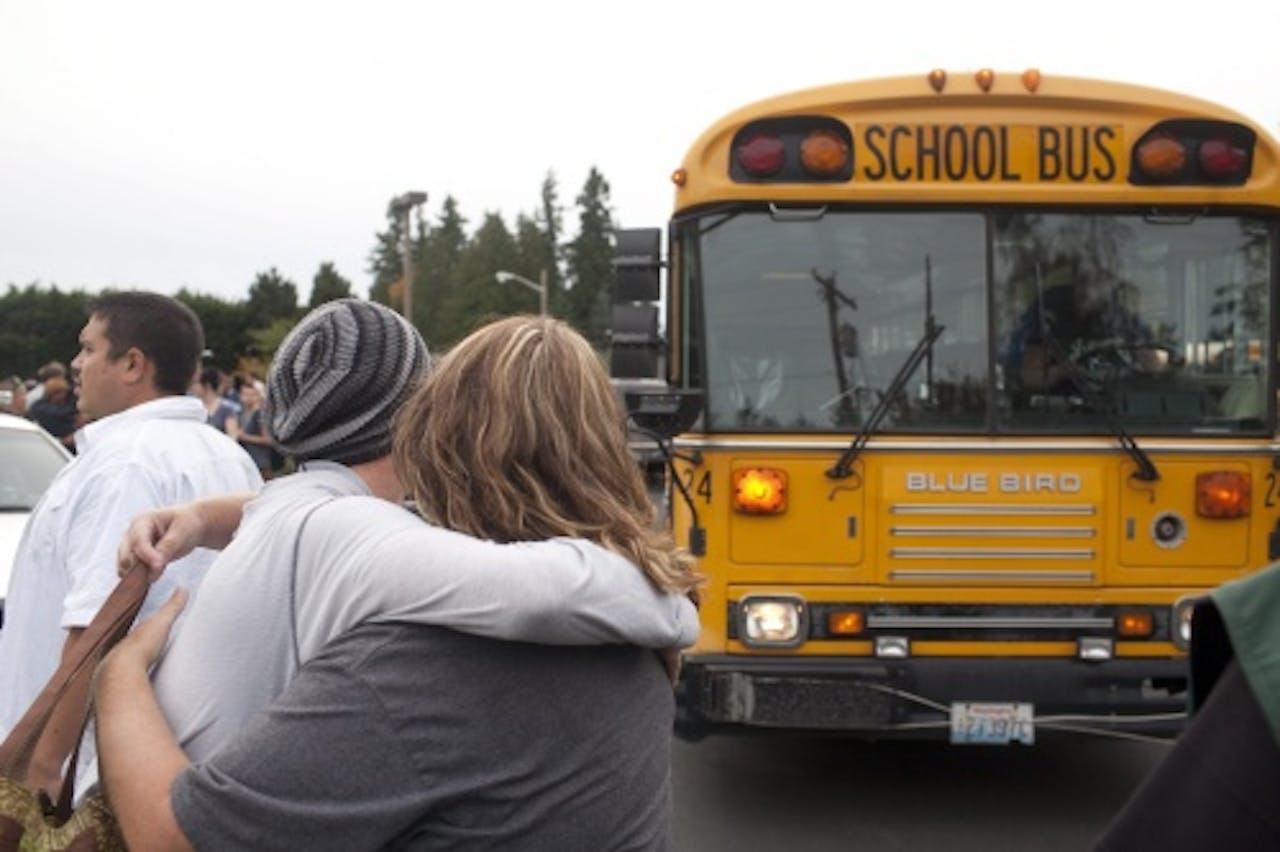 De schoolbus bij de Marysville-Pilchuck High School in Washington. EPA