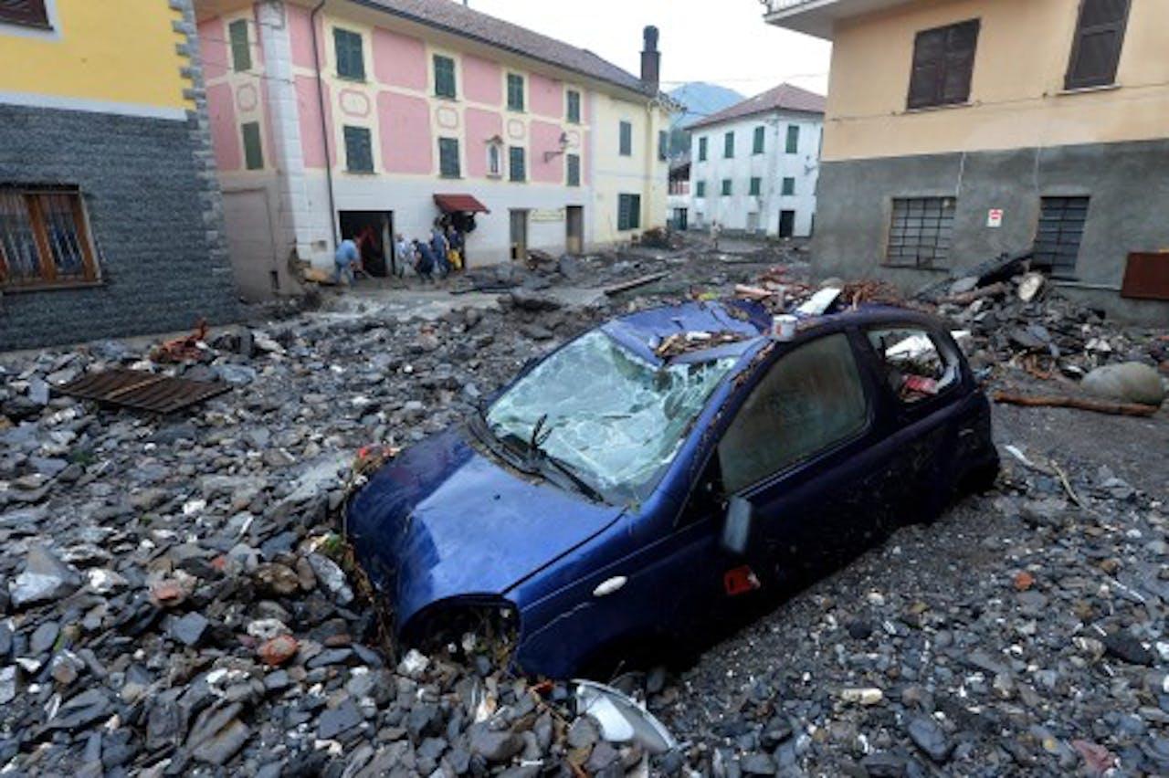 Archieffoto, ravage na regenval bij Genua in oktober. EPA