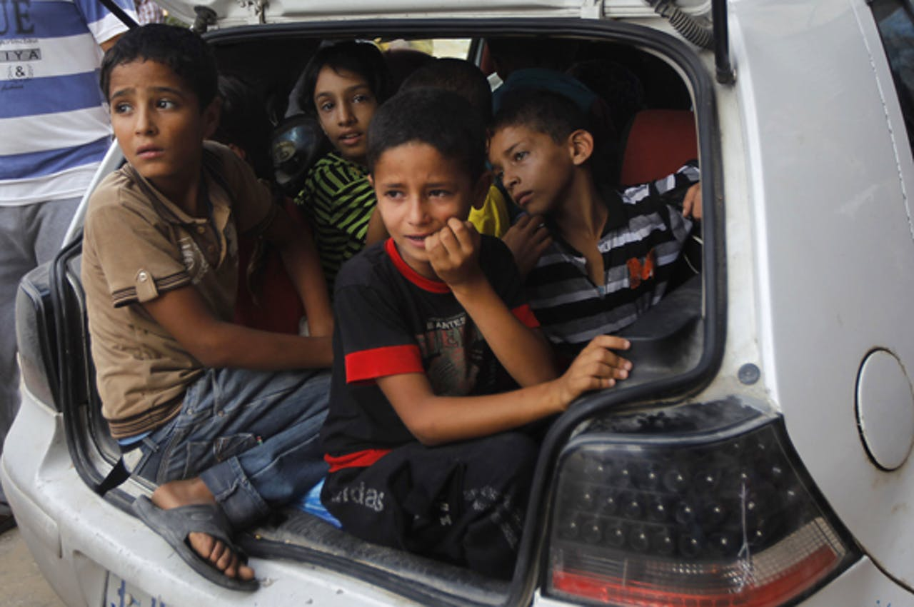 Palestijnse families verlaten hun buurt