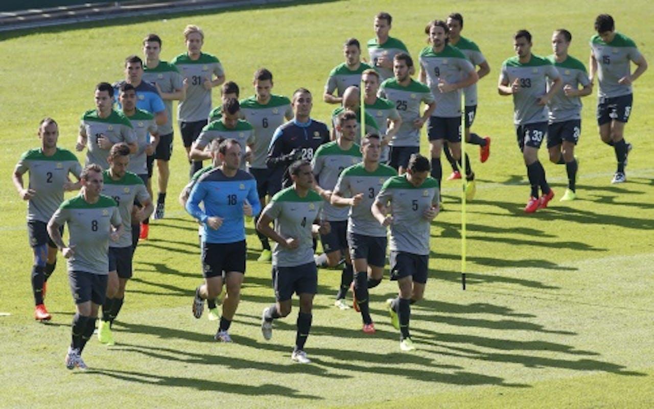 Socceroos zijn al vol in training. EPA