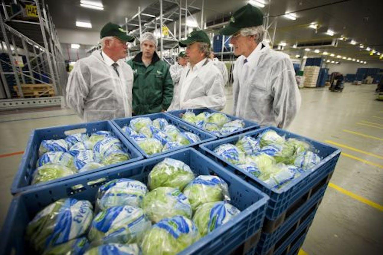 Staatssecretaris van Landbouw Henk Bleker (tweede van rechts) onlangs op bezoek bij The Greenery. ANP