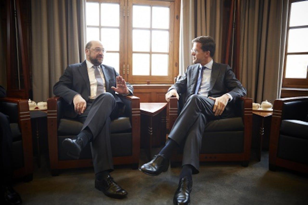 Mark Rutte en de voorzitter van het Europees Parlement, Martin Schulz. ANP