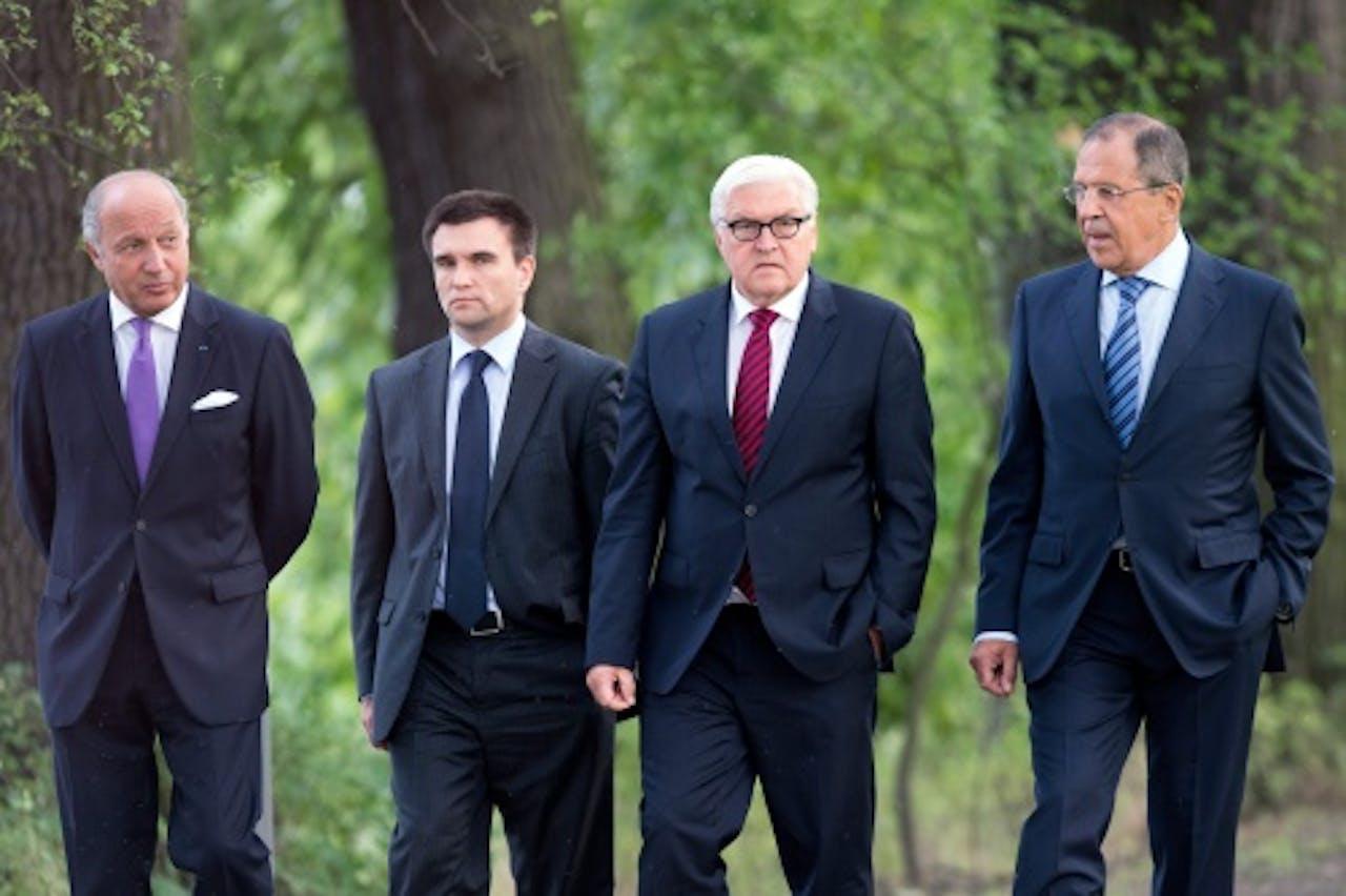 De ministers van Buitenlandse Zaken van Rusland, Oekraïne, Rusland, Duitsland en Frankrijk (EPA)