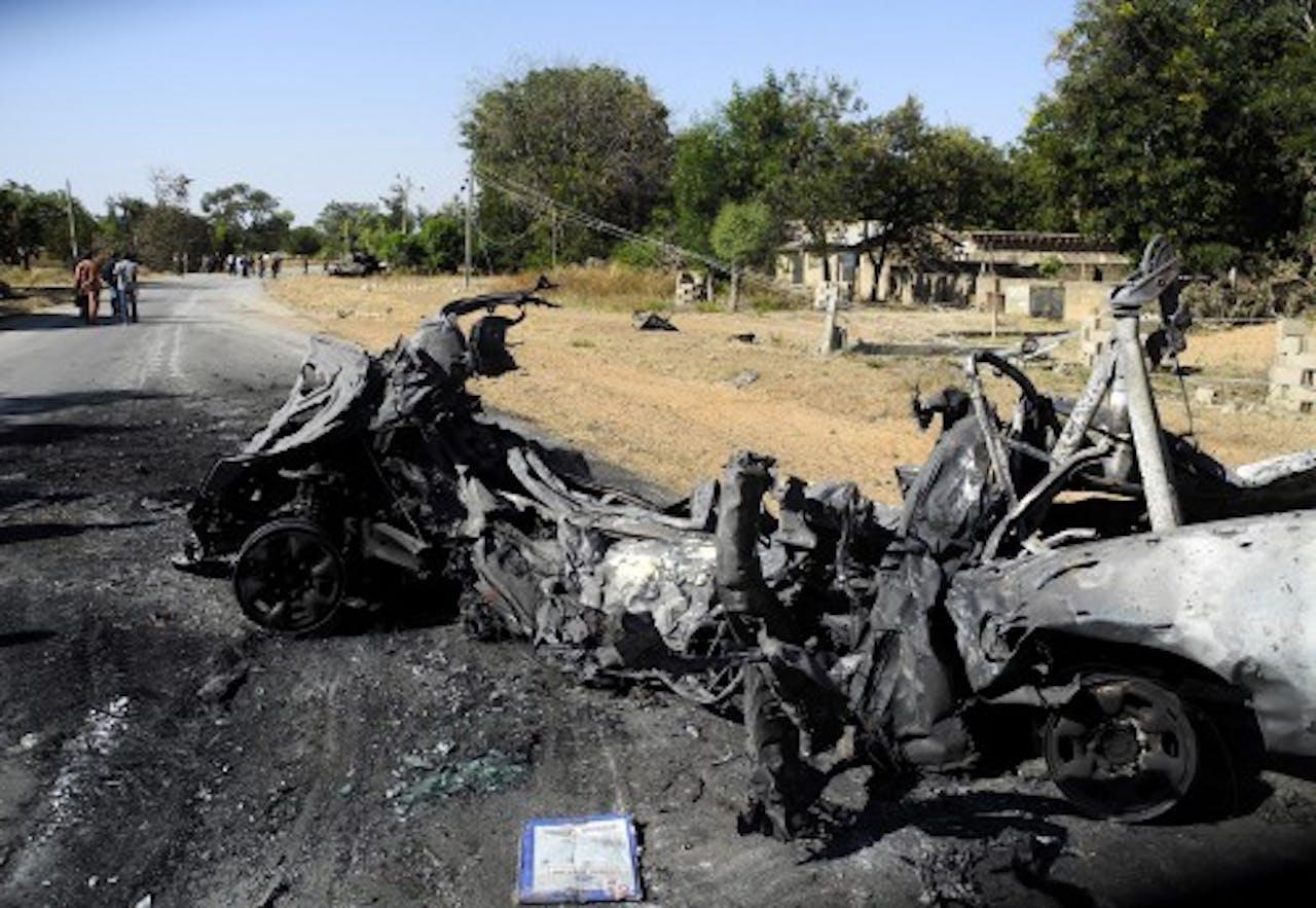 Archieffoto, verwoest voertuig van Boko Haram. EPA