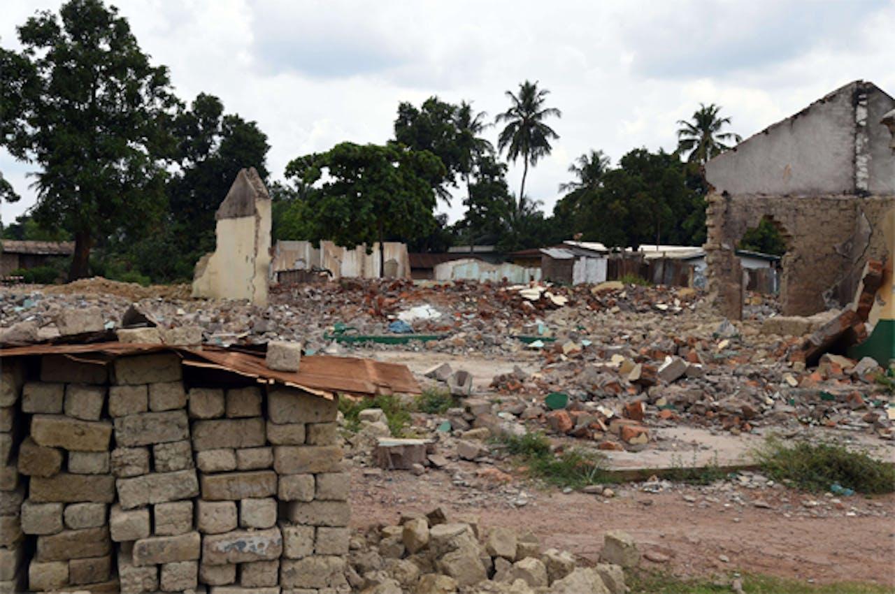 De ruïne van een vernielde moskee in Bangui