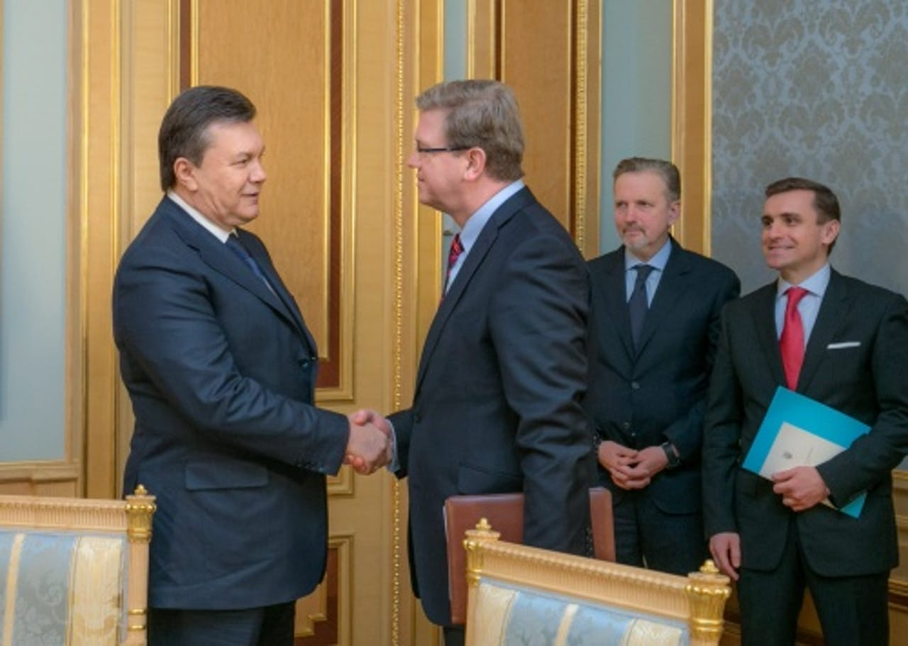 Viktor Janoekovitsj (L). EPA