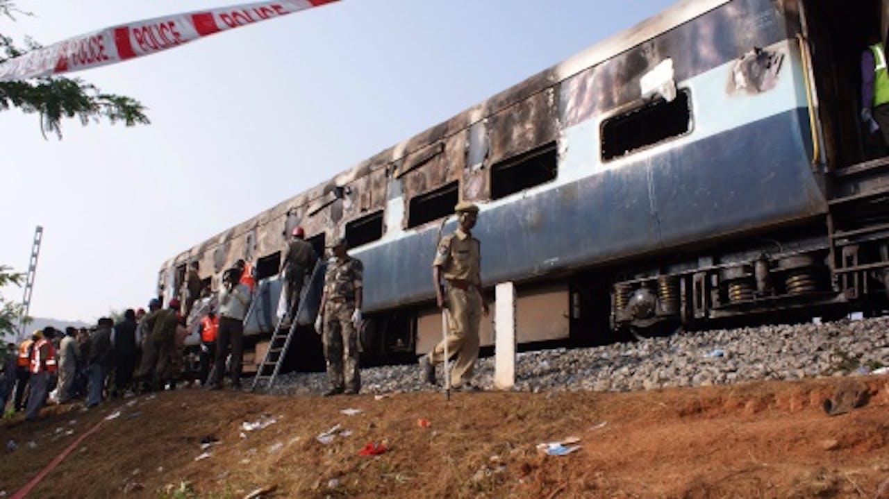 Archiefbeeld eerdere treinbrand in India, eind vorig jaar. EPA