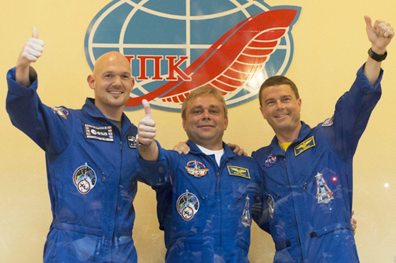 De Duitse astronaut Alexander Gerst, de Russische kosmonaut Max Suraev en de Amerikaanse astronaut Reid Wiseman afgelopen mei