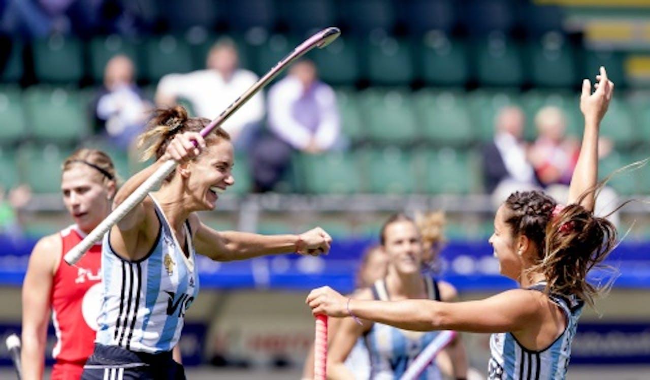 Vreugde bij Luciana Aymar van Argentinië na de 1-0 tegen de VS. ANP
