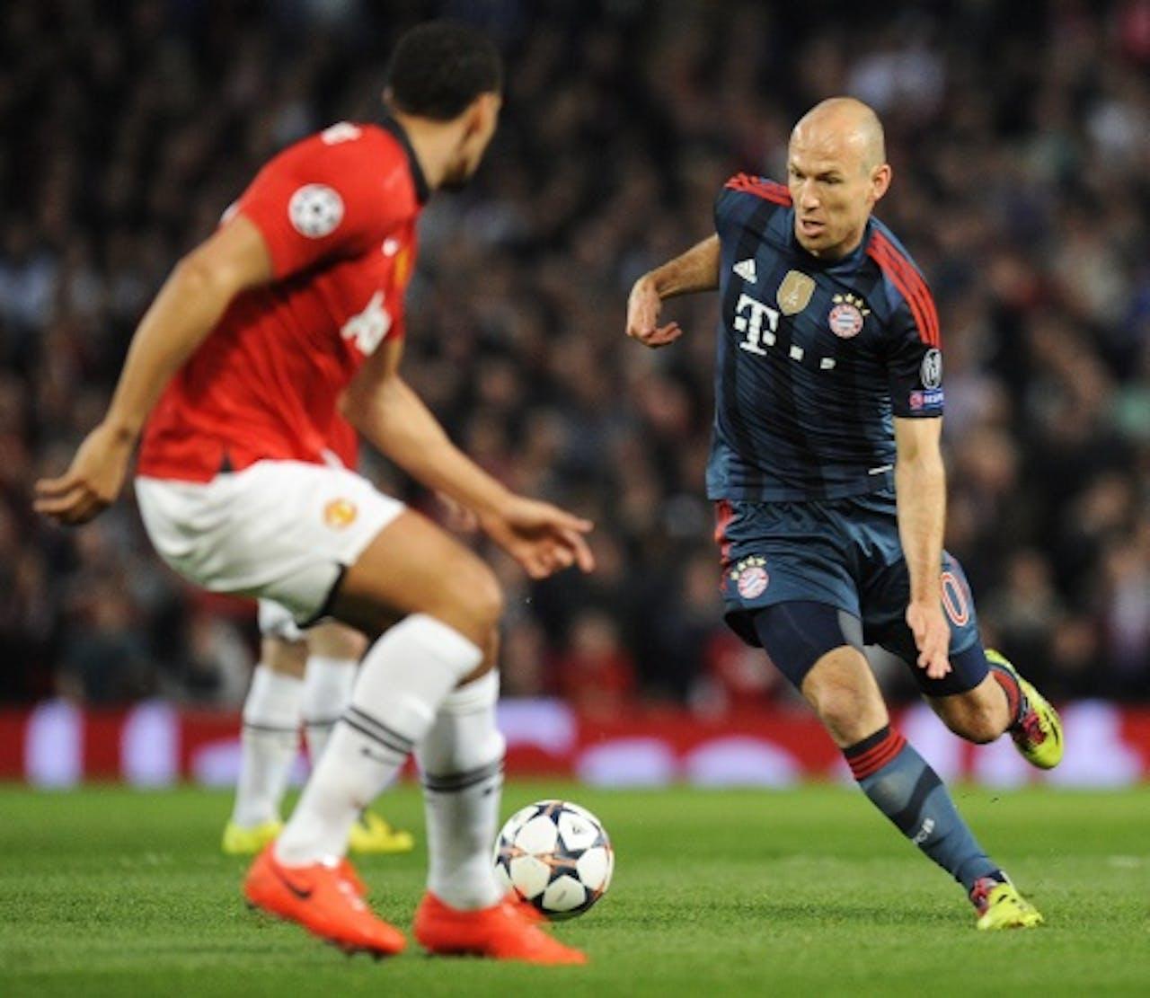 Arjen Robben van Bayern München tijdens de wedstrijd tegen Manchester United. EPA