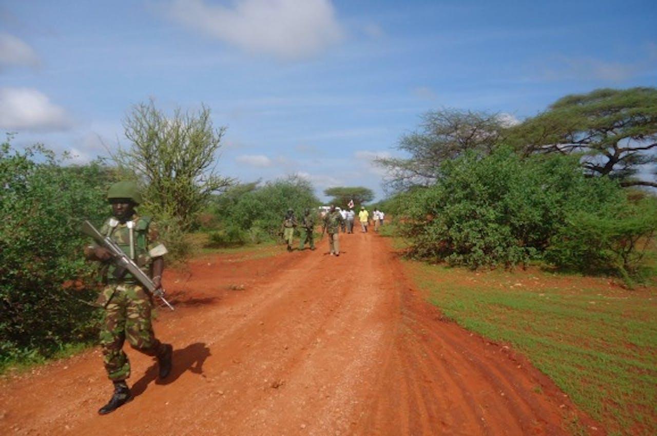 Bron: ANP. Soldaat patrouilleert na aanslag in Kenia eerder deze maand.