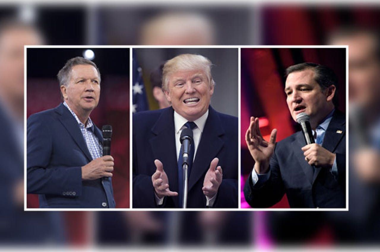 John Kasich (L), Donald Trump (M), Ted Cruz (R)