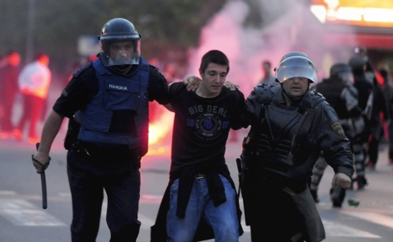 Archiefbeeld van rellen in Skopje van vorige maand. EPA