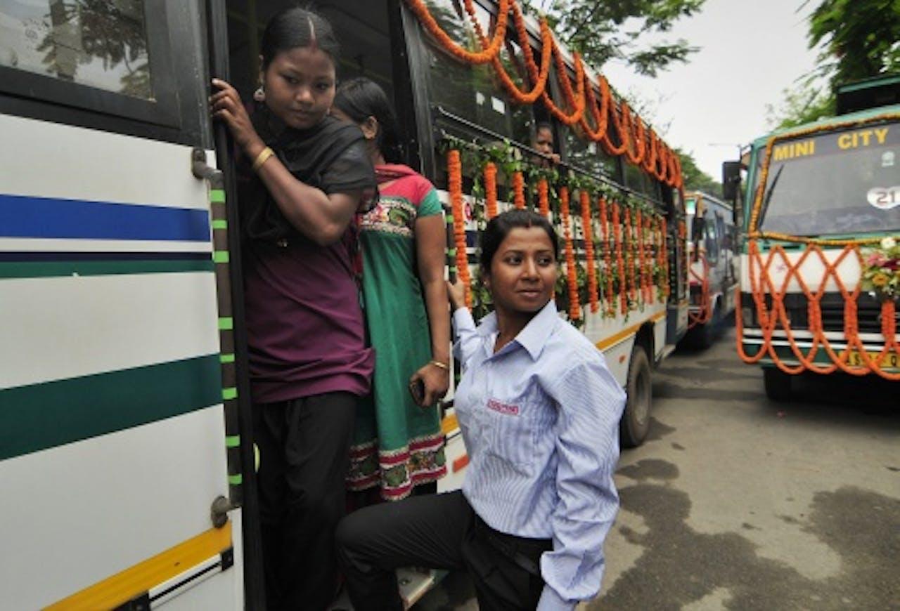 Schoolbus in India. EPA