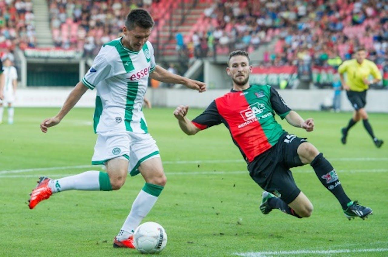 Andraz Kirm van FC Groningen scoort de 0-2 in de wedstrijd tegen NEC, ANP PRO SHOTS