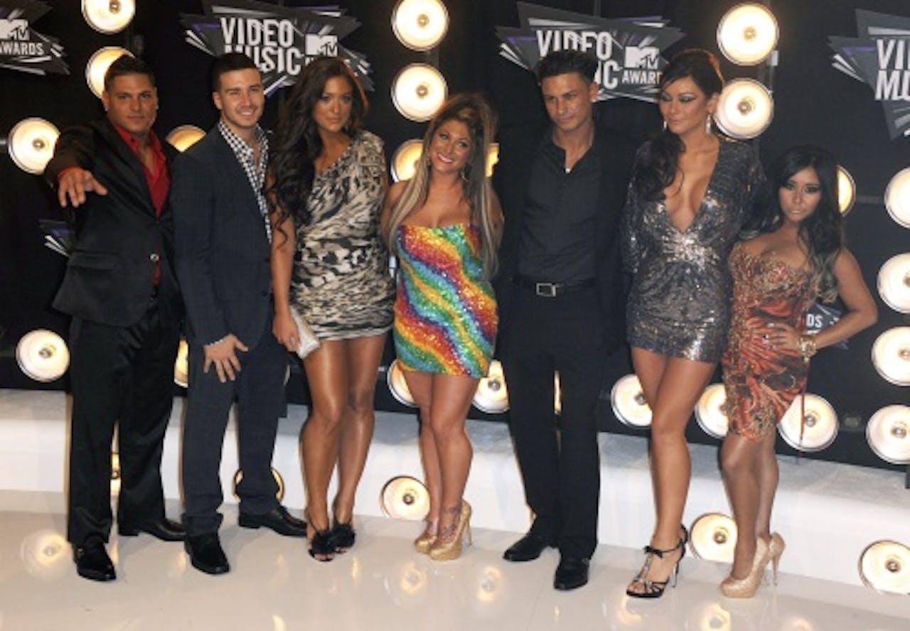 De cast van Jersey Shore met rechts Snooki. EPA