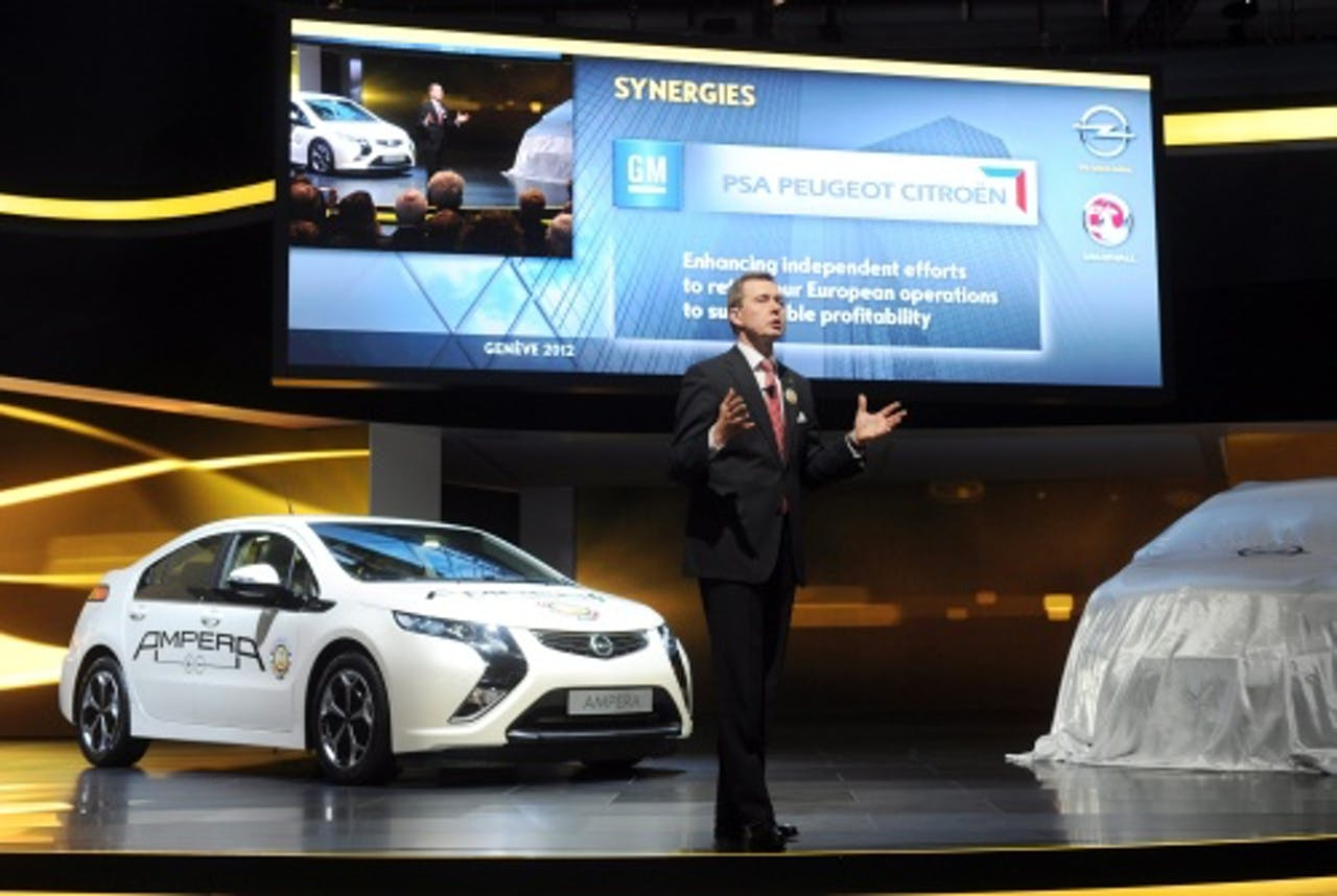 CEO van Opel Karl-Friedrich Stracke tijdens de International Motor Show in Geneve.