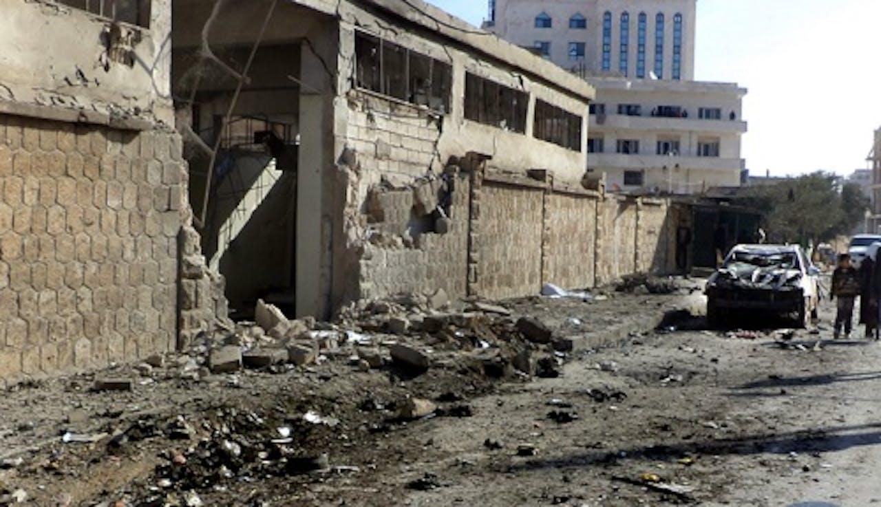 Archiefbeeld van een straat een stad in de provincie Idlib. EPA