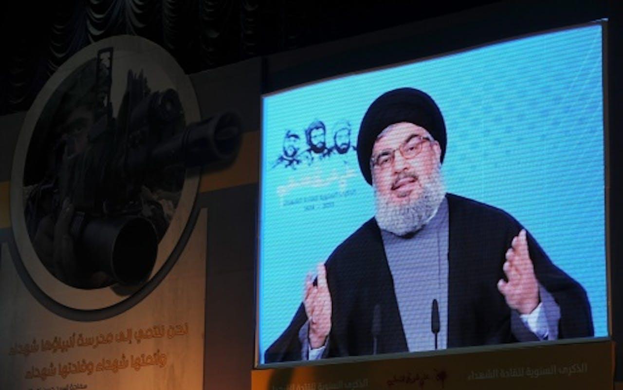 Hassan Nasrallah op archiefbeeld. EPA